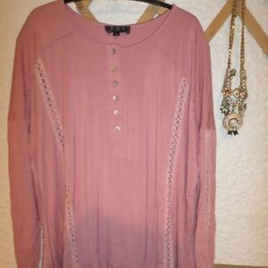 POL Lace Inset Oversized Tunic Top Size M